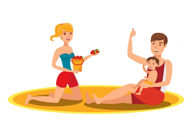 Family eating strawberry flat vector illustration
