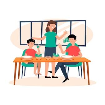 Семья ест дизайн рисованной цзунцзы