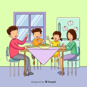 Family eating