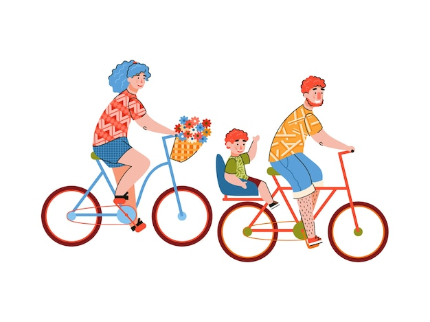 자전거를 타고 즐기는 가족
