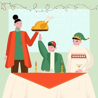 Семья, наслаждаясь рождественским ужином вместе