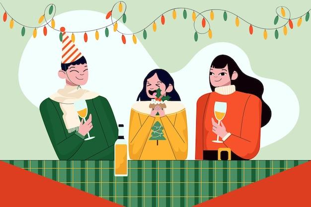 Семья, наслаждающаяся рождественским ужином