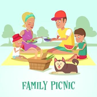 피크닉을 즐기는 가족