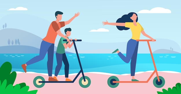 Family enjoying activities at seaside. parents and kid riding scooter by sea flat vector illustration. vacation, summer, holiday