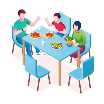 テーブルで食事を楽しんでいる家族。夕食または昼食、夕食または朝食時の母、父および子供。