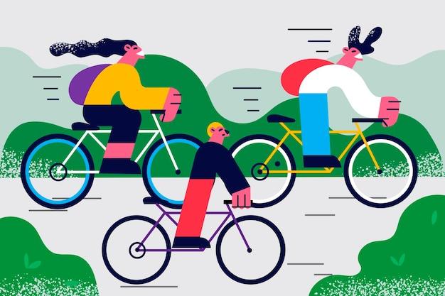 자연 야외에서 자전거를 타고 즐기는 가족