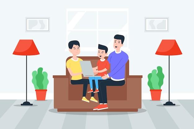 家で一緒に時間を楽しんでいる家族