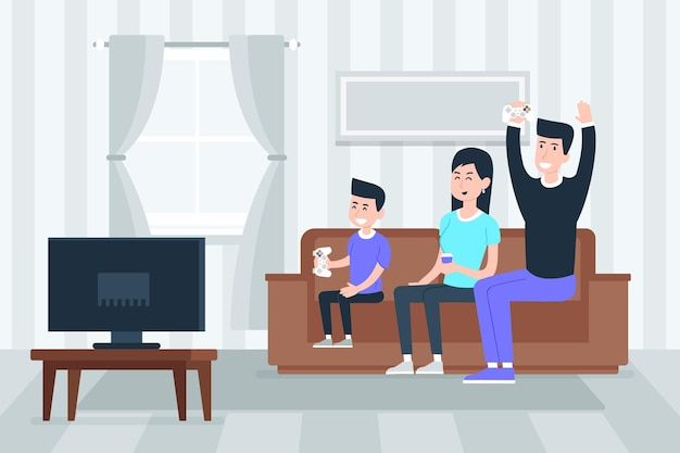 Family enjoying time together watching tv