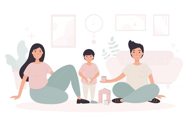 함께 시간을 즐기는 가족