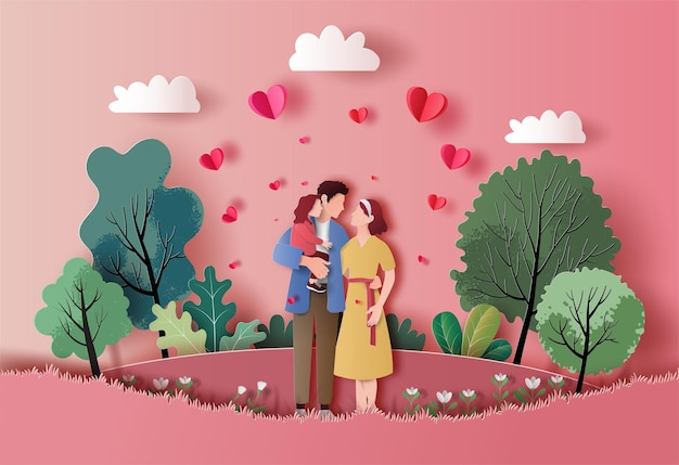 A family enjoys fresh air in the park in paper illustration