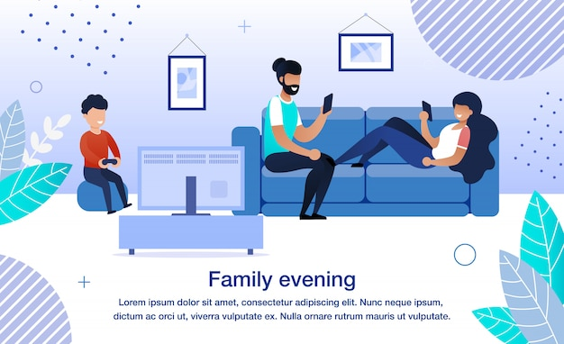 Family evening routine flat vector banner, poster