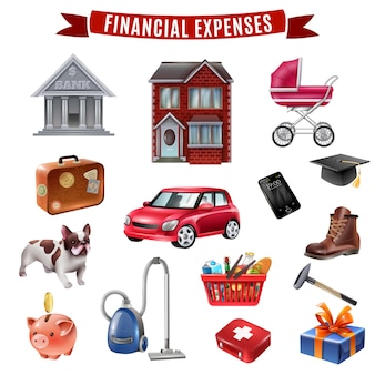 Family expenses flat icons collection
