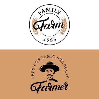 Family farm and farmer hand written lettering