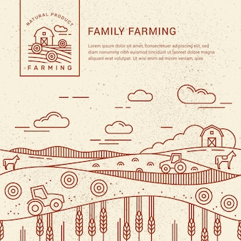 Family farm with a place for text and logo template Premium Vector