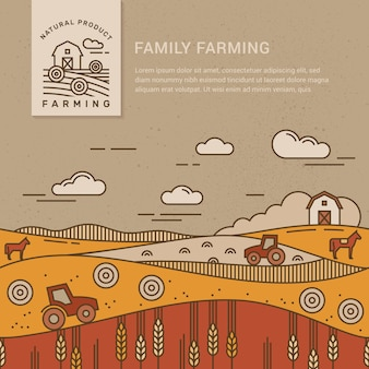 Family farm with a place for text and logo template