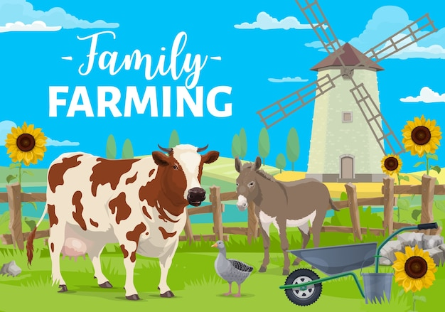 Family farming. farm animals on rural landscape with windmill, crops and sunflowers field.