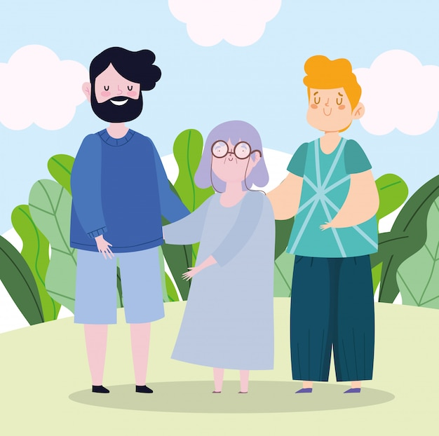 Family father grandma and son together cartoon character