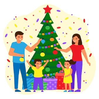 Семья отец, мать и дети украшают зеленую елку дома шарами и лампочками. молодая пара, мальчик и девочка ждут праздника с подарками. праздник рождества и нового года. вектор