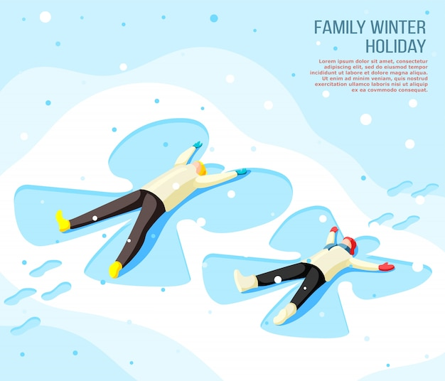 Family father and son making drawing of butterfly on snow during winter holiday isometric