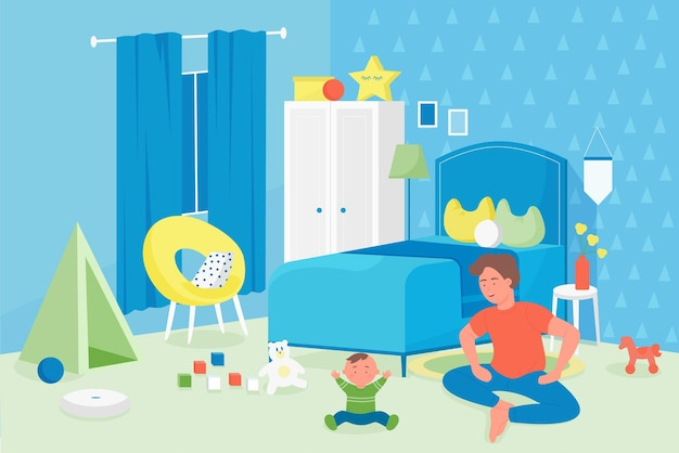 Family fatherhood and parenthood concept happy smiling father playing with baby boy