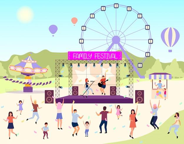Family festival activities flat vector illustration.