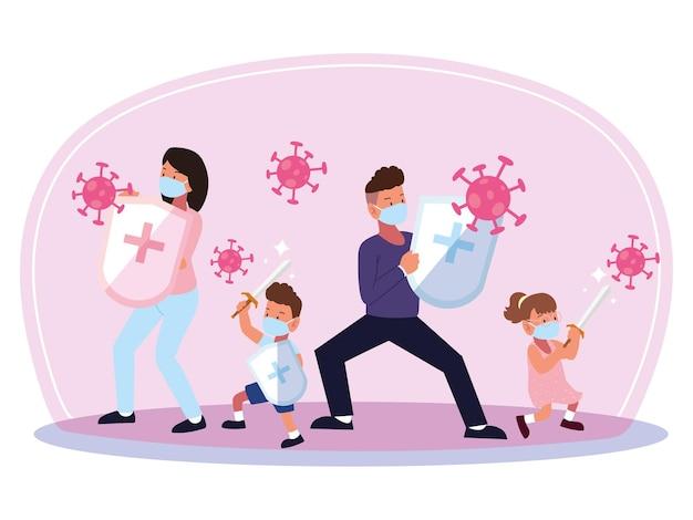 코로나 바이러스 세포 위험한 질병과 싸우는 가족