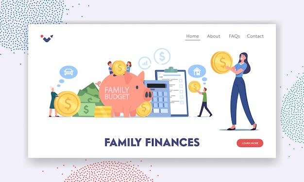 Family finances, budget savings landing page template. tiny characters collect coins into huge piggy bank. people earn and save money, universal income, capital, wealth. cartoon vector illustration