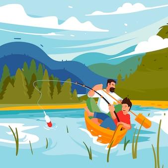 가족 낚시 캠핑. 가족 모험, 아버지와 아들 개념 그림. 야외에서 즐길 수있는 곳. 산, 국립 공원의 배경에 호수에 보트에서 낚시하는 사람.
