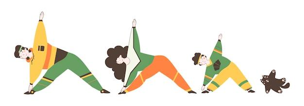 Семейный фитнес дома иллюстрации шаржа