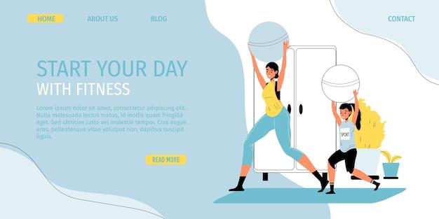 Семейный фитнес, ежедневная спортивная деятельность, досуг, время дома. счастливая мать и дочь делают упражнения с помощью фитбола. здоровый образ жизни в помещении во время карантина. целевая страница промо