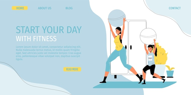 Family fitness daily sport activity, leisure lifestyle, time at home. happy mother daughter do workout exercise using fitball. healthy lifestyle indoor during quarantine. promo landing page