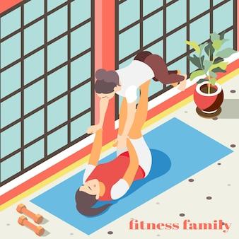 체육관 홀 평면에서 곡예 운동을하는 여성 캐릭터와 가족 피트니스 아이소 메트릭 그림