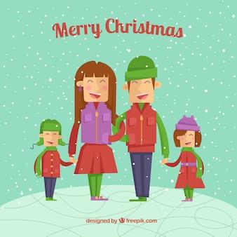 가족 플랫 크리스마스 카드