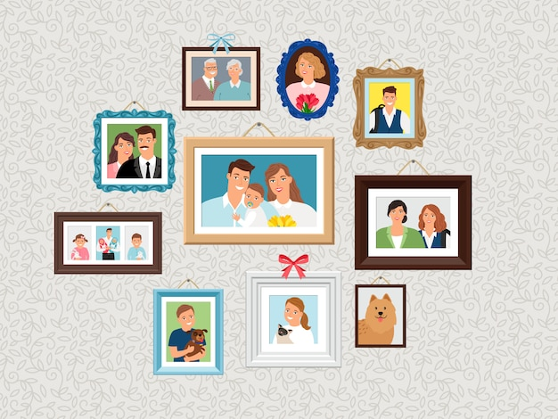 Family frames set. people portrait pictures, faces photoportraits on wall with kids and dog, wife and grandparents