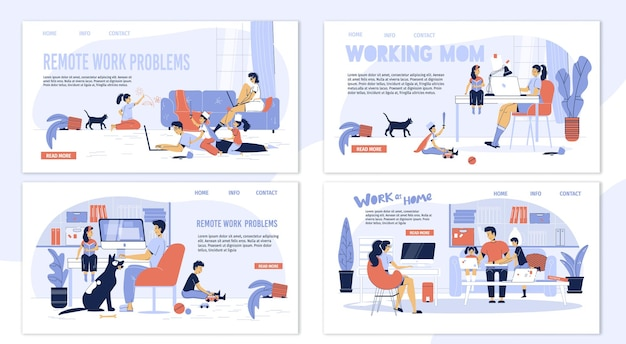 Family freelancer characters set-advantages and disadvantages of online work.