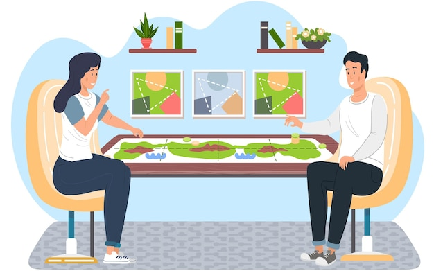 Family or friends man and woman sitting at a table and playing strategy logical board game