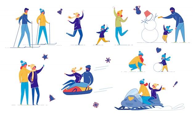 Family, friends outdoor activity winter fun set.