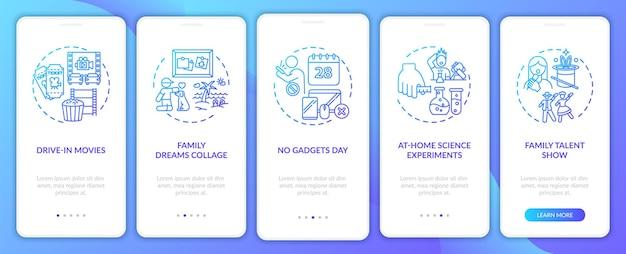 コンセプトのあるモバイルアプリページ画面にオンボーディングする家族向けの楽しいアイデア。学校のウォークスルー5ステップで家族のタレントショー。 rgbカラーイラスト付きのuiテンプレート