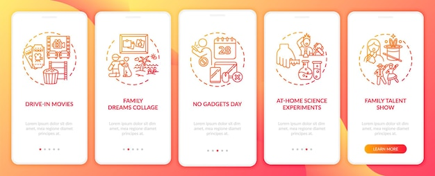 Family fun ideas onboarding mobile app page screen with concepts. no gadgets day for whole family walkthrough 5 steps graphic instructions. ui  template with rgb color illustrations
