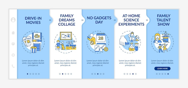Family fun ideas onboarding template