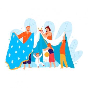 Потеха семьи тратит время, шатер игрушки строения родителя от одеяла изолированного на белизне, иллюстрации шаржа. отец мама развлекает детей.