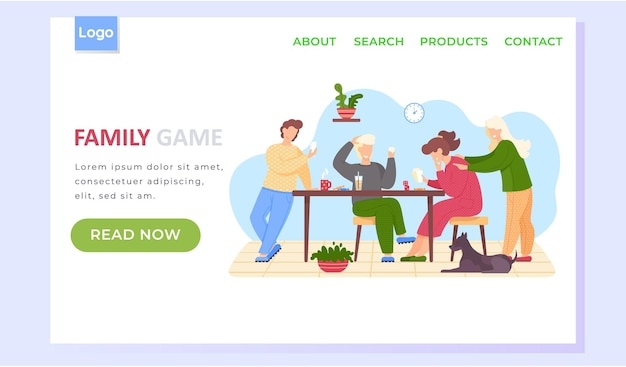 Family game landing page template with happy people parents and children playing board game