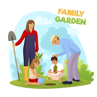 Family garden illustration