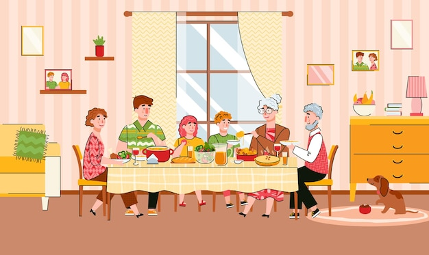 Family generations dining festive meal together cartoon illustration