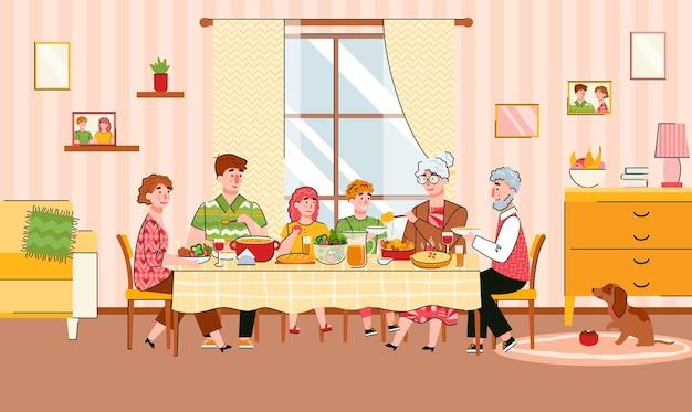 축제 식사를 함께 식사하는 가족 세대 만화 일러스트 레이션