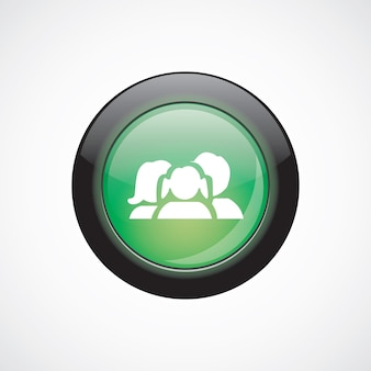 家族のガラスのサインアイコン緑の光沢のあるボタン。 uiウェブサイトボタン
