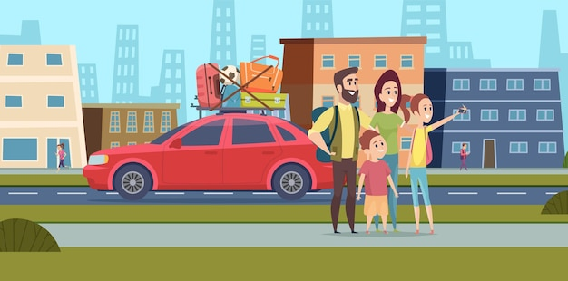 Family go to road trip. happy mom dad and children making selfie on city street. travel together on car vector illustration. trip road family, holiday travel and journey