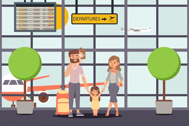 Family go on vacation, airport departure  illustration. happy parent character with kids, daughters before travel flight.