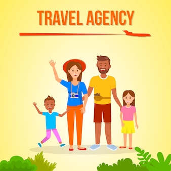 Family going on holiday social media banner layout