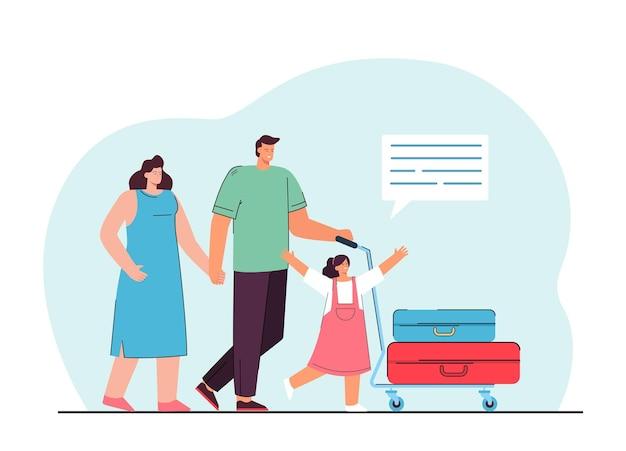 가족 휴가 그림에. 수하물을 운반하는 행복한 가족 무료 벡터